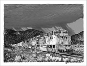 Pen And Ink Framed Prints Drawings - Union Pacific Diesels and Monsoon by Jack Pumphrey