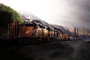 Railroads Framed Prints - Union Pacific Locomotive at Sunrise . 7D10561 Framed Print by Wingsdomain Art and Photography