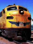 Train Digital Art Posters - Union Pacific Locomotive Train Poster by Wingsdomain Art and Photography