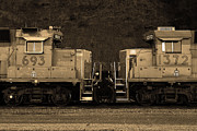 Railroads Photos - Union Pacific Locomotive Trains . 7D10574 . sepia by Wingsdomain Art and Photography