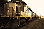 Railroads Posters - Union Pacific Locomotive Trains . 7D10588 . sepia Poster by Wingsdomain Art and Photography