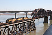 Union Pacific Train Framed Prints - Union Pacific Locomotive Trains Riding Atop The Old Benicia-Martinez Train Bridge . 5D18850 Framed Print by Wingsdomain Art and Photography