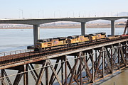 Benicia Martinez Bridge Posters - Union Pacific Locomotive Trains Riding Atop The Old Benicia-Martinez Train Bridge . 5D18851 Poster by Wingsdomain Art and Photography