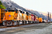 Railroads Framed Prints - Union Pacific Locomotives Along The Hills of Martinez California . 7D10563 Framed Print by Wingsdomain Art and Photography