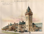 Victorian Buildings Paintings - Union Railroad Station. Portland ME. 1893 by Winslow and Wetherell