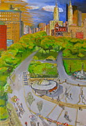 Union Square Painting Prints - Union Square NYC Print by Natey Freedman