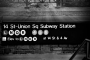 Union Square Metal Prints - Union Square Subway Station BW Metal Print by Susan Candelario