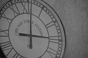 Clock Hands Framed Prints - Union State Clock in Black and White Framed Print by Luke Pickard