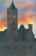 Nashville Tennessee Painting Metal Prints - Union Station Metal Print by Arthur Barnes