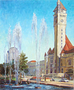 Louis Paintings - Union Station in St.Louis by Irek Szelag