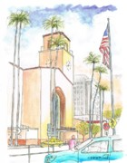 Landmarks Paintings - Union Station Los Angeles CA by Carlos G Groppa