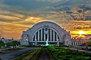 Cincinnati Framed Prints - Union Terminal at Sunset Framed Print by Keith Allen