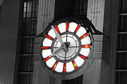 Prints Pyrography Framed Prints - Union Terminal Clock Framed Print by Russell Todd