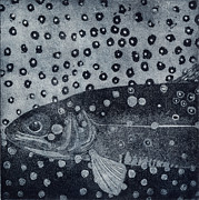 Trout Drawings - Unique etching artwork - Brown trout  - trout waters - trout brook - engraving by Urft Valley Art