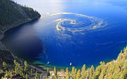 Crater Lake Photos - Unique swirl of pollen at Crater Lake by Pierre Leclerc