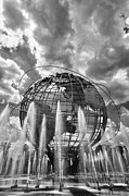 Scultpure Posters - Unisphere and Fountains Flushing Meadow Park NYC Poster by Robert Ullmann