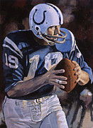 Colts Paintings - Unitas by Rich Marks