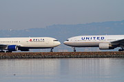 Passenger Plane Metal Prints - United Airlines And Delta Airlines Jet Airplane At San Francisco International Airport SFO . 7D12091 Metal Print by Wingsdomain Art and Photography