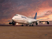 Boeing Paintings - United Airlines Boeing 747 by Nop Briex