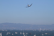 Sail Boat Photos - United Airlines Boeing 747 Over The San Francisco Bay At Fleet Week . 7D7860 by Wingsdomain Art and Photography