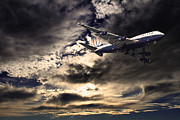 United Airline Framed Prints - United Airlines . Flying The Friendly Skies Framed Print by Wingsdomain Art and Photography