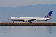 Passenger Plane Metal Prints - United Airlines Jet Airplane At San Francisco International Airport SFO . 7D12129 Metal Print by Wingsdomain Art and Photography