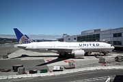 Passenger Plane Photo Framed Prints - United Airlines Jet Airplane at San Francisco SFO International Airport - 5D17107 Framed Print by Wingsdomain Art and Photography