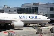 Passenger Plane Photo Framed Prints - United Airlines Jet Airplane at San Francisco SFO International Airport - 5D17109 Framed Print by Wingsdomain Art and Photography