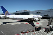Passenger Plane Metal Prints - United Airlines Jet Airplane at San Francisco SFO International Airport - 5D17114 Metal Print by Wingsdomain Art and Photography