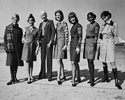 Trenchcoat Prints - United Airlines Stewardesses Modeling Print by Everett