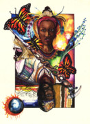 African American Artist Drawings Posters - United Poster by Anthony Burks