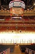 Hockey Drawings - United Center - Chicago by Melissa Goodrich