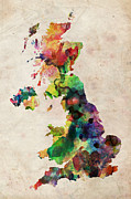 Urban Watercolor Digital Art Metal Prints - United Kingdom Watercolor Map Metal Print by Michael Tompsett