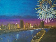 Fireworks Pastels Prints - United Moments of America Print by Samuel McMullen