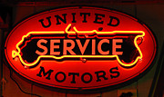 Motors Framed Prints - United Motors Service Neon Sign Framed Print by Bob Christopher