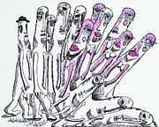 Hands Drawings Metal Prints - United Metal Print by Robert Wolverton Jr