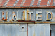 Siding Prints - UNITED Rusted Metal Sign Print by Nikki Marie Smith