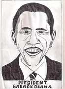 President Barack Obama Drawings Framed Prints - United State President Barack Obama Framed Print by Ademola kareem oshodi