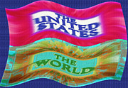 Waving Mixed Media Prints - United States - The World - Flag Unfurled Print by Steve Ohlsen