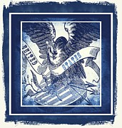 Man Cave Mixed Media Posters - United States Blue Poster by Angelina Vick