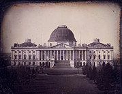 Daguerreotype Framed Prints - United States Capitol Building Framed Print by Everett