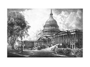 Us Capital Mixed Media Framed Prints - United States Capitol Building Framed Print by War Is Hell Store