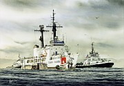 Foss Tugboats Posters - United States Coast Guard BOUTWELL Poster by James Williamson