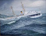 Coast Guard Painting Posters - United States Coast Guard Cutter Ingham Poster by William H RaVell III