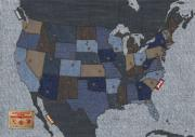 Us Map Prints - United States of Denim Print by Michael Tompsett