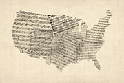 Music Score Digital Art Metal Prints - United States Old Sheet Music Map Metal Print by Michael Tompsett