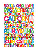 Typographic Map Prints - United States USA Text Bus Blind Print by Michael Tompsett