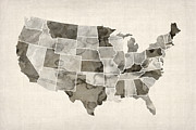 United States Map Prints - United States Watercolor Map Print by Michael Tompsett
