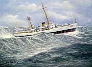 Coast Guard Painting Posters - United StatesCoast Guard Cutter Ingham Poster by William H RaVell III