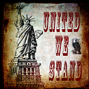 Democracy Mixed Media Framed Prints - United We Stand Framed Print by Angelina Vick